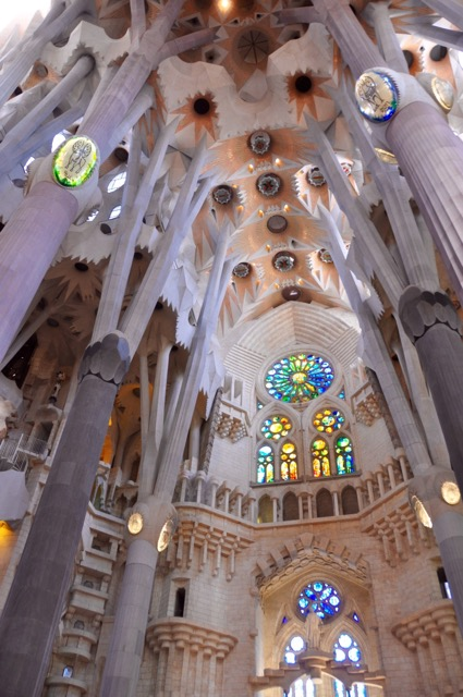 The interior of La Sagrada Familia, THE MOST mind-blowing cathedral I've ever visited in Europe